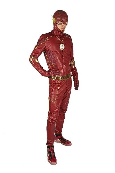 Nuova seleziona per genuino costo moderato Nexthops Costume Carnevale Flash Coat Cosplay in Pelle 5 PZ ...