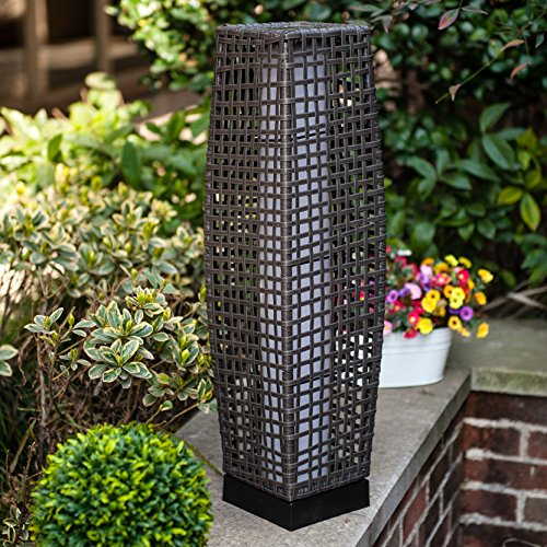 Floor Lamp Grand Patio Outdoor Lamp Patio Lights Solar Powered Lantern Weather-Resistant Rattan Deck Lights, Lamp Large-Sized for Garden (Outdoor Indoor Floor Lamps)