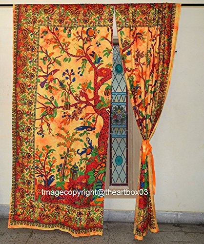 THE ART BOX Window Curtains Indian Window Drapes Set of 2 Tapestry Window Curtains Hanging Valances for Window Room Divider (Orange Tree)