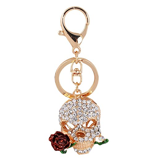 Butterfly Iron Shiny Skull with Rose Key Chain Keyring Charming Purse Bag  Hanging Pendant at Amazon Women s Clothing store  77ad3deec8