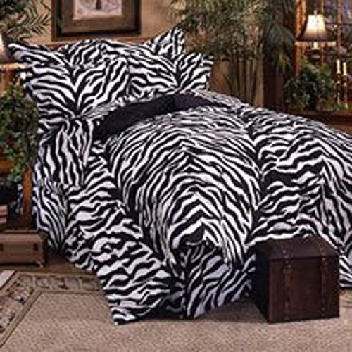 Black Zebra 8 Pc Queen Comforter Set, One Matching Shower Curtain, and Set of (Two) Matching Window Valance/Drape Sets; Entire Set Includes: (1 Comforter, 1 Flat Sheet, 1 Fitted Sheet, 2 Pillow Cases, 2 Shams, 1 Bedskirt, 2 Valance/Drape Sets) SAVE BIG ON BUNDLING! ()