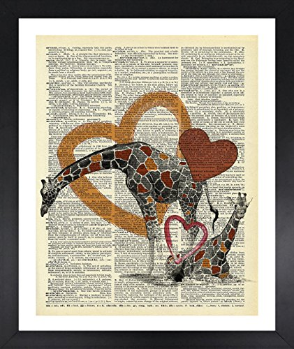 Giraffe Peel (Love Giraffes Art Dictionary Print Vintage 8x10 Upcycled Abstract For Home Decor Decorations For Living Room Bedroom Office Ready-to-Frame)