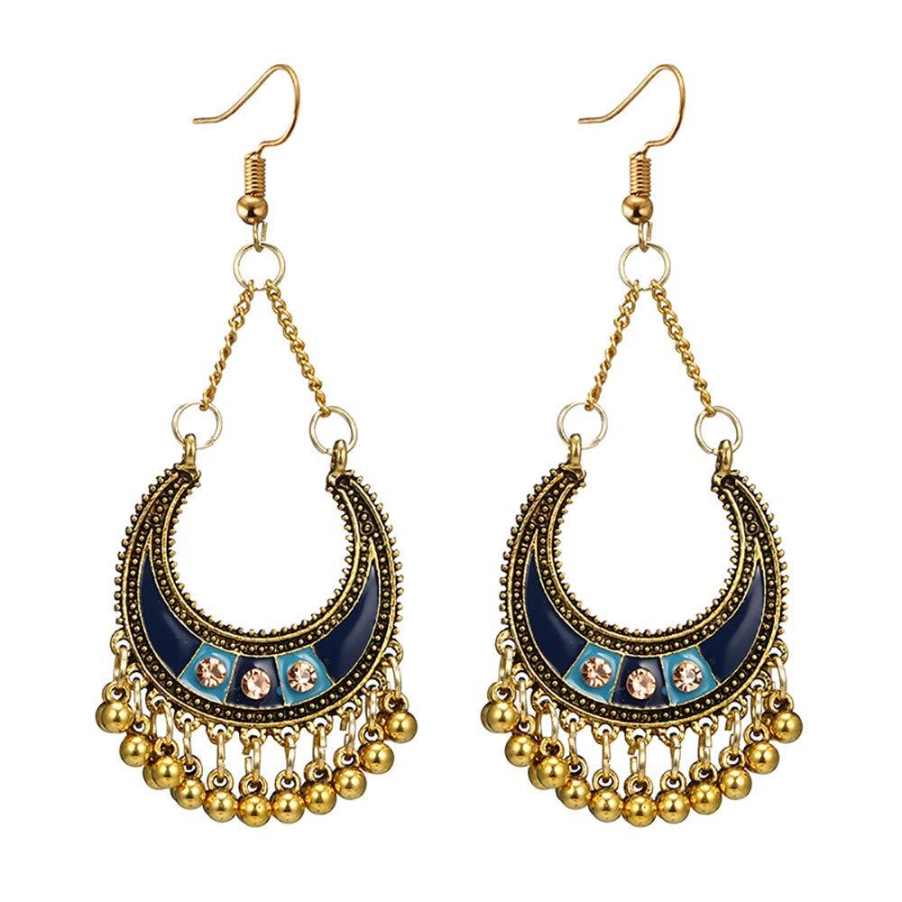 Sinfu Women Vintage Bohemian Drops with Diamonds C-Curved Moon Basket Bells Long Tassel Earrings (F)