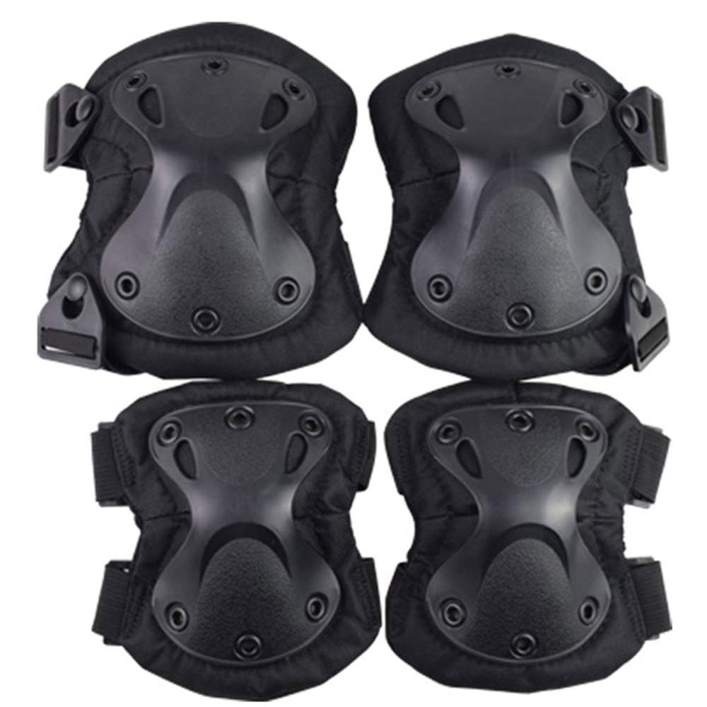 ActionUnion Adult Elbow Pad Knee Pads Protective Gear Set Guard Tactical Shooting Pads Military Army Combat Protection Sports Pads Equipment for CS Paintball Game Biking Skating (Black)