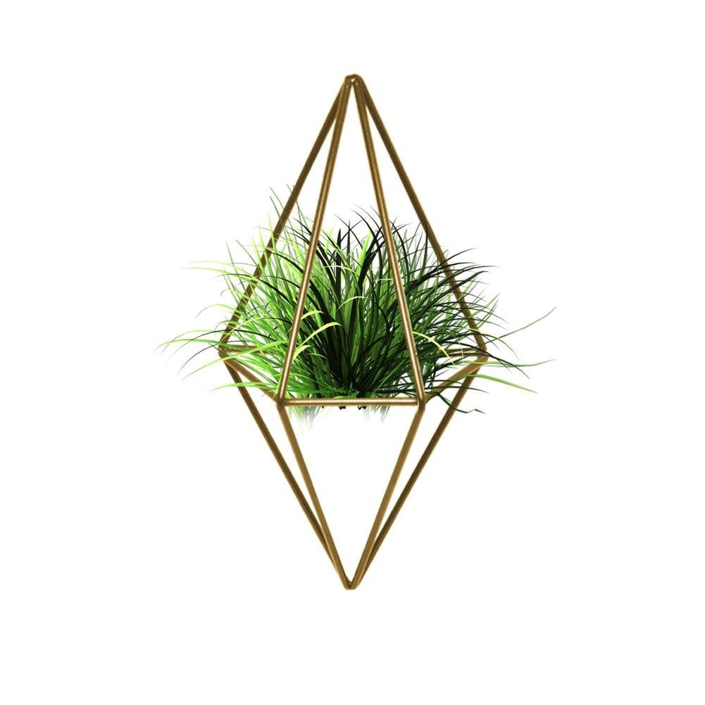 Labu Store Rustic Style Hanging Double Diamond Shaped Metal Tillandsia Air Plants Rack Holder Planter Ornament