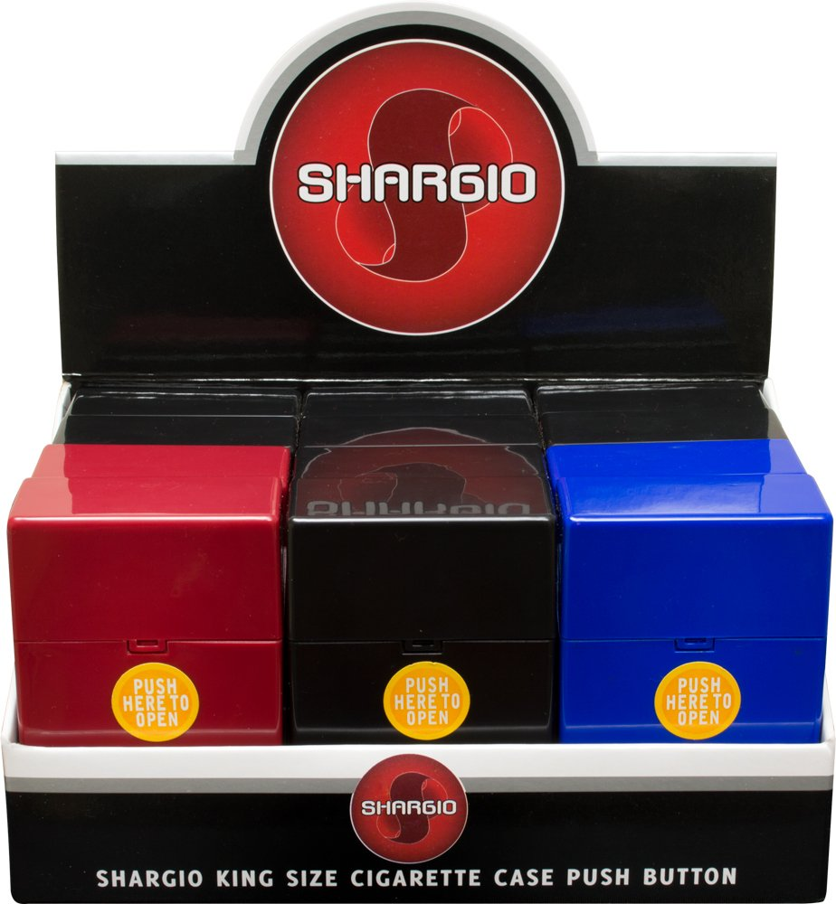 Shargio King Size Push Open button Cigarette case Display of 12ct