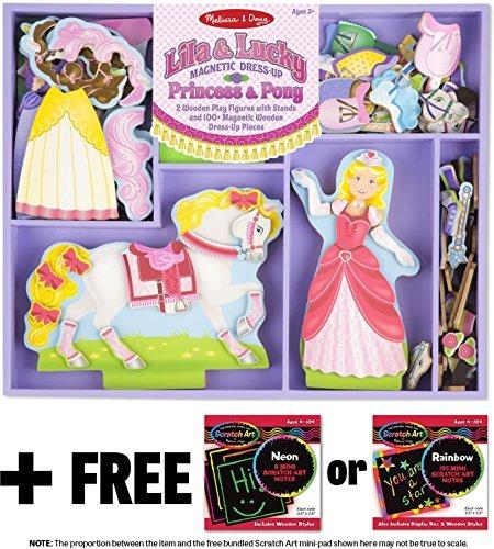 Lila & Lucky: Magnetic Dress-Up Set + FREE Melissa & Doug Scratch Art Mini-Pad Bundle - Doll Dress Up Leigh Magnetic