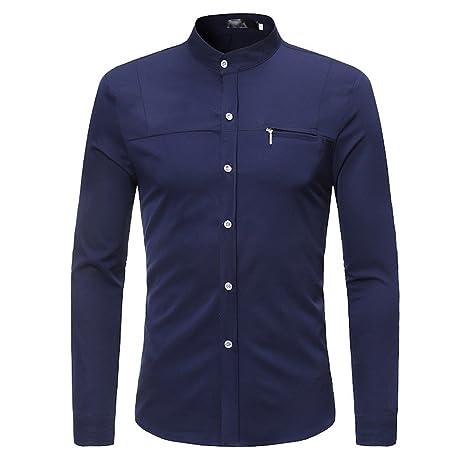 Hombre camisa manga larga Otoño,Sonnena ❤ Camisas para hombres delgadas con cremallera Camiseta