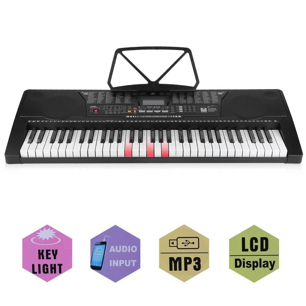 OUTAD Clavier Electronique Piano Numérique Portable, Clavier Standard avec 61 Touches Sensibles au Toucher Style Piano, et Microphone Poncherish
