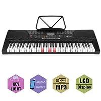 Teclados electrónicos portátil, teclado piano, Teclado estándar con 61 Brillando teclas sensibles al tacto estilo piano