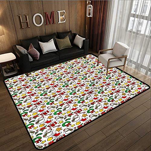 (Hallway Rug Christmas Poinsettia Flower Children Crawling Bedroom Rug 6'6