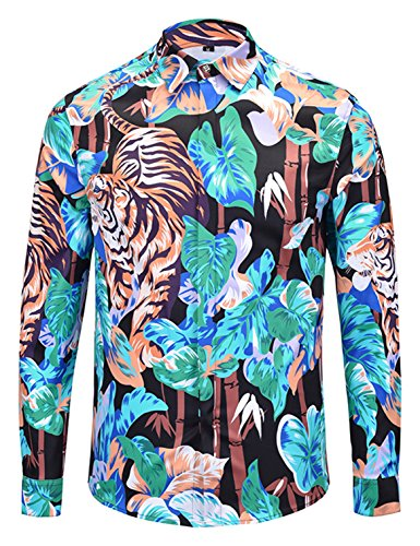 PIZOFF Mens Long Sleeve Luxury Forest Tiger Print Dress ()
