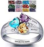 Mothers Rings with Birthstones, Choose 3 Birthstones 3 Names and 1 Engraving Customized and Personalized Size 7.5