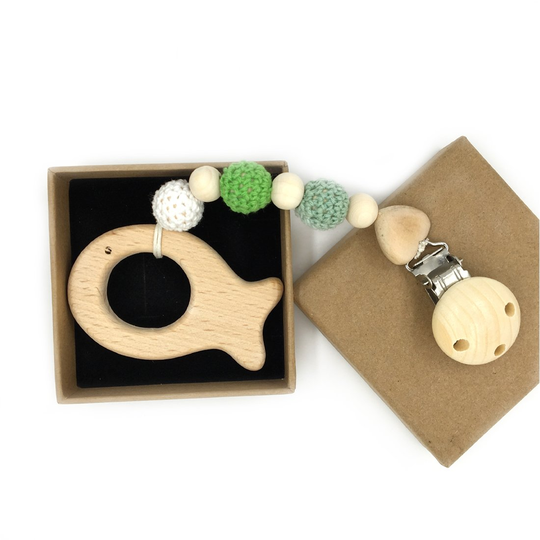 Color 4 Coskiss Beb/é de madera Chupete clip colgante de madera natural de la dentici/ón masticable de seguridad para beb/é Holder regalo unisex juguetes para la dentici/ón del clip