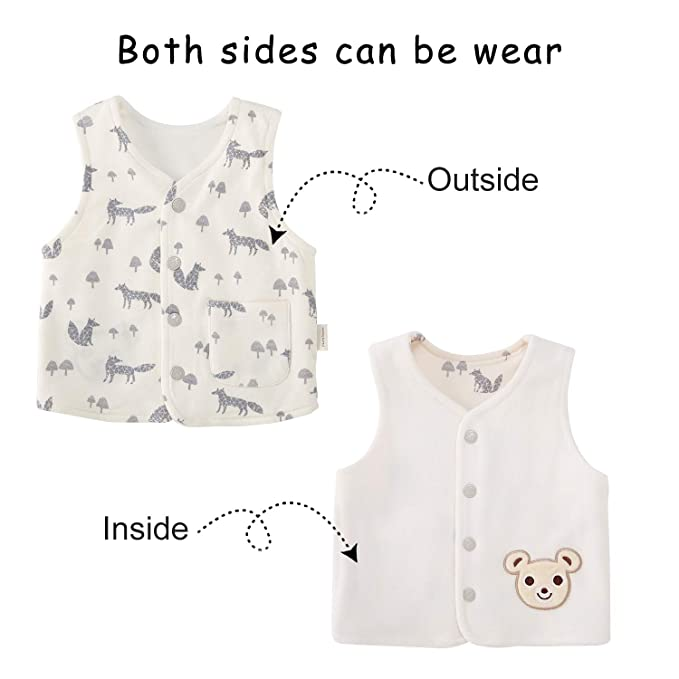 47da37d5d Amazon.com  pureborn Baby Warm Jacket Cotton Vest Spring and Fall ...