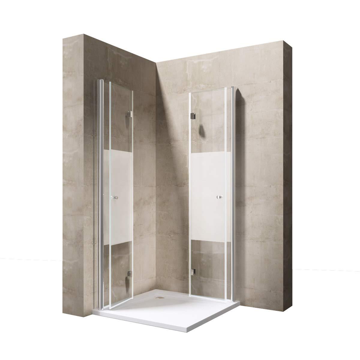 Sogood paroi pare-douche porte de douche pliante cabine de douche rabattable verre tremp/é transparent avec bande opaque Ravenna26MS 90x70x190