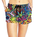 Haibobo Trippy Psychedelic Plant Women's Swim Trunks Quick Dry Water Beach Board Shorts