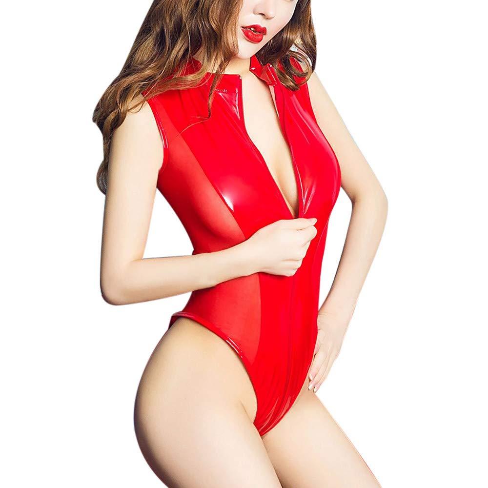 SamMoSon Lenceria Sexy Tallas Grandes Ropa Interior De Cuero del Mono Atractivo De Las Mujeres Ropa Interior De La Cremallera Pijamas Huecos(Rojo,XL): ...