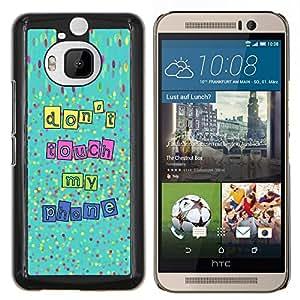 KLONGSHOP // Cubierta de piel con cierre a presión Shell trasero duro de goma Protección Caso - Touch My Phone Manos Fuera de Texto - HTC One M9Plus M9+ M9 Plus //