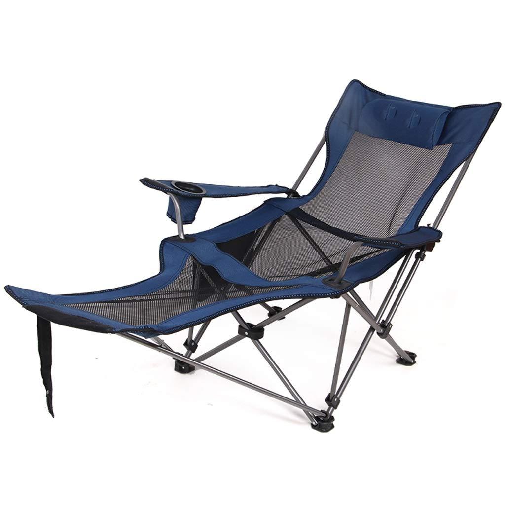 屋外折りたたみリクライニングチェア、ポータブル背もたれ釣りキャンプスツール、オプションで2色 JSFQ (Color : Blue) B07T6XKPMG Blue
