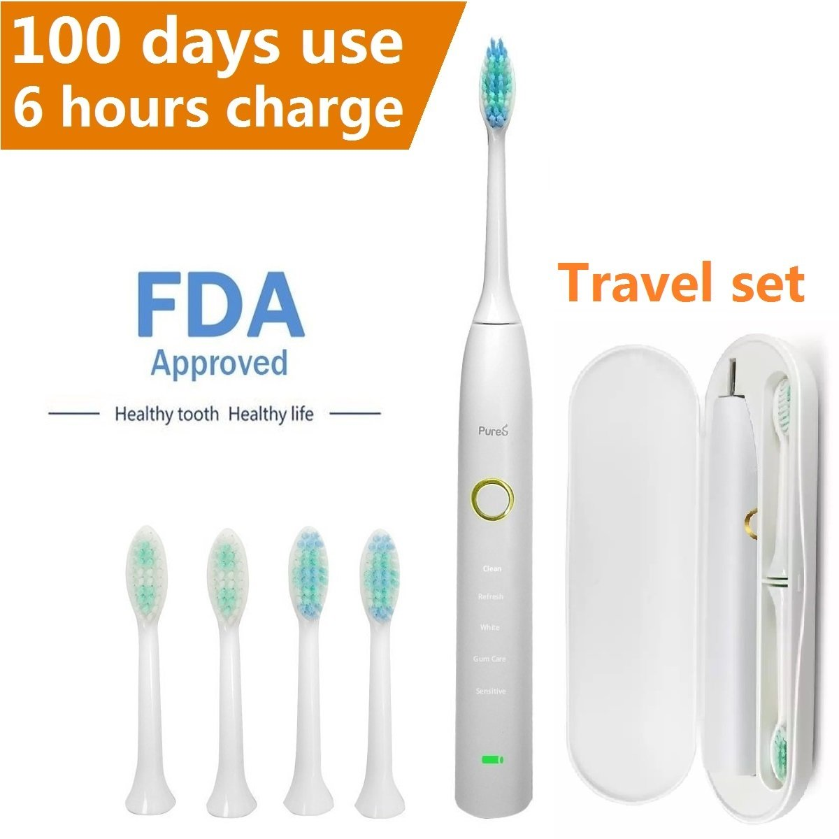 Amazon Com Sonic Electric Toothbrush Travel Rechargeable