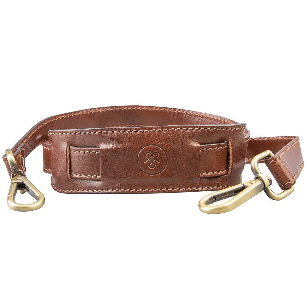 Maxwell Scott Personalized Italian Leather Shoulder Strap For Men - Tan by Maxwell Scott Bags