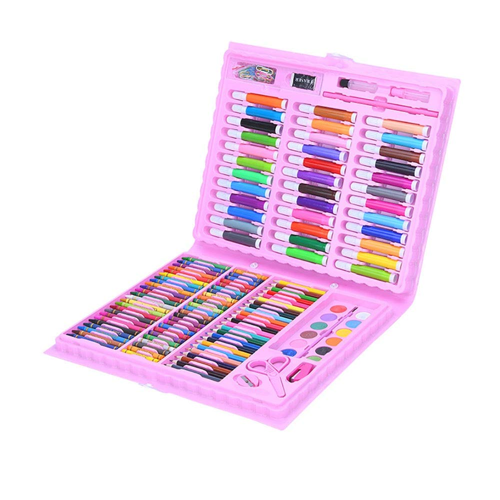 DERTHWER Children's Watercolor Pen Set 150-Piece Deluxe Art Creativity Set for Kids with Plastic Case Great Gift for Kids Colored Pencil Set DIY Painting Tools (Color : Pink, Size : Free Size)