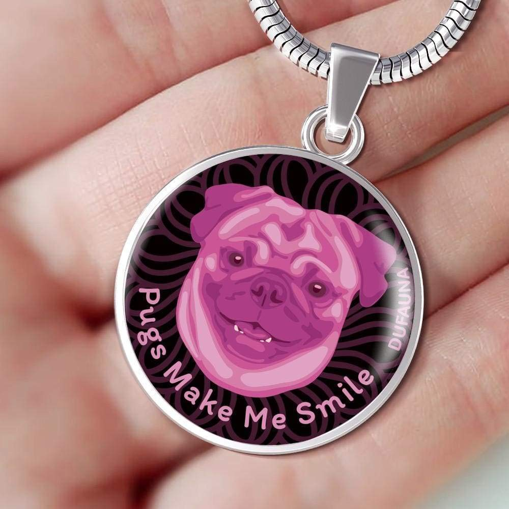 18-22 Steel or 18k Gold Finish DuFauna Berry Pink//Black Pugs Make Me Smile Necklace D19 Many Colors