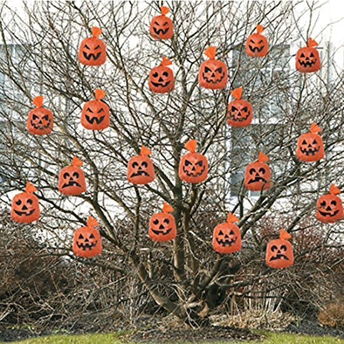 20 Halloween Pumpkin Hanging Leaf Bags tree decoration The Little Shop of Favours