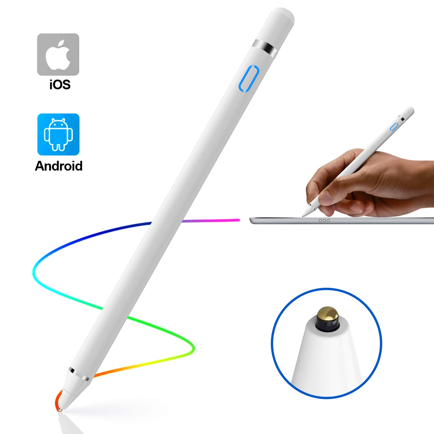 Stylus Pen for Touch Screens, Rechargeable 1.45mm Fine Point Tablet Stylus Pen, Active Stylus Pen Compatible with iPhone, iPad and Most Tablet by IKALULA by IKALULA