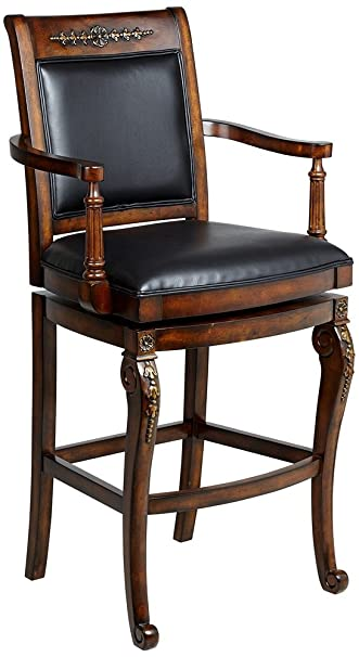 Hillsdale Furniture 61574 Douglas 49u0026quot; Leather Upholstered Wood Bar  Stool With Gold Highlights And Wood
