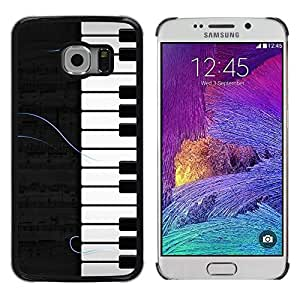 TopCaseStore / la caja del caucho duro de la cubierta de protección de la piel - Piano Pattern - Samsung Galaxy S6 EDGE SM-G925