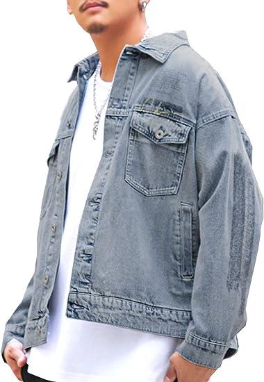 ラグスタイル デニムジャケット メンズ ビッグシルエット Gジャン プリント ロゴ