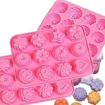 Molde de silicona de grado alimenticio Candora, gelatina, galletas, chocolate, dulces, molde para magdalenas, molde para magdalenas, juego de 3 unidades: ...