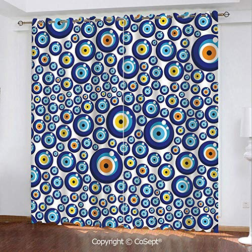 - CoSept Solid Polyester Window Curtain,Traditional Turkish Charm Luck Sign Pattern Vivid Bead Figures Graphic,for Bedroom and Living Room,51.96x62.99 Inch Length,2 Drape Panels,Blue Orange Yellow