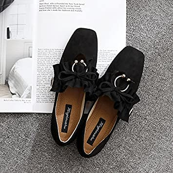9981463a404 Xue Qiqi Square head single shoes women leather flat footwear satin light  the bow tie casual