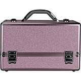 Hiker Hk3201 3-Tiers Accordion Trays Professional Cosmetic Makeup Train Case with Two Brush Holder, Pink Krystal, 7 Pound
