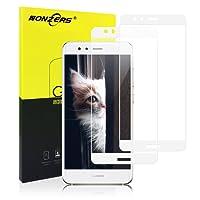 NONZERS Pacco da 2 Pellicole Protettive per Huawei P10 Lite, Vetro Temperato, Screen Protector, 9H Durezza Ultra Resistente, Installazione Facile e Senza Bolle per HUAWEI P10 LITE (Bianco)