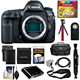 Canon EOS 5D Mark IV 4K Wi-Fi Digital SLR Camera Body with 64GB CF Card + Battery & Charger + Case + Tripod + Sling Strap + Kit