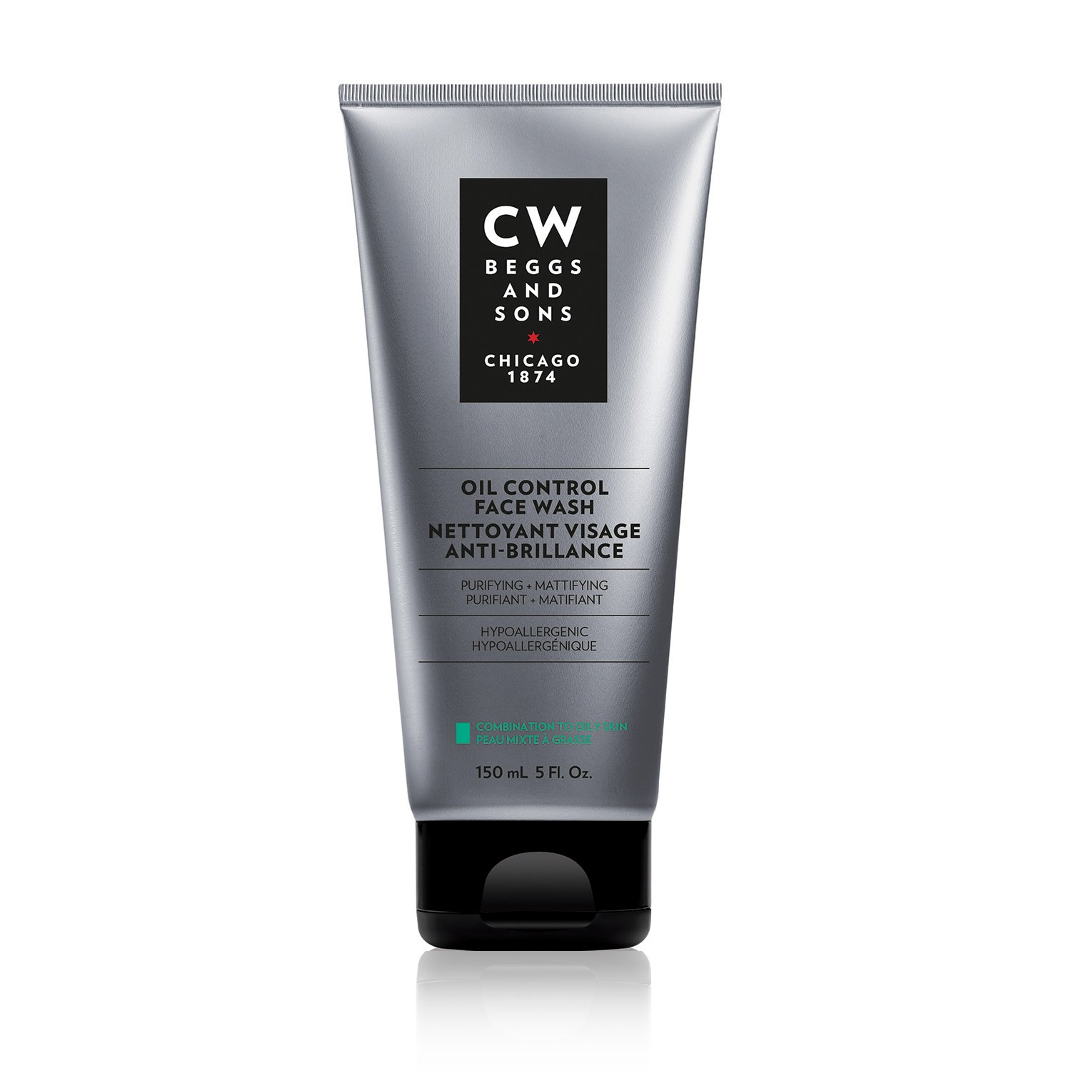 CW Beggs and Sons Oil Control Face Wash for Men, Hypoallergenic and Fragrance-Free, 150 mL Marcelle group - Beauty