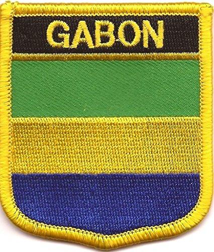 "Gabon Flag Patch / International Shield Iron On Badge (Gabon Crest, 2.75"" x 2.35"")"