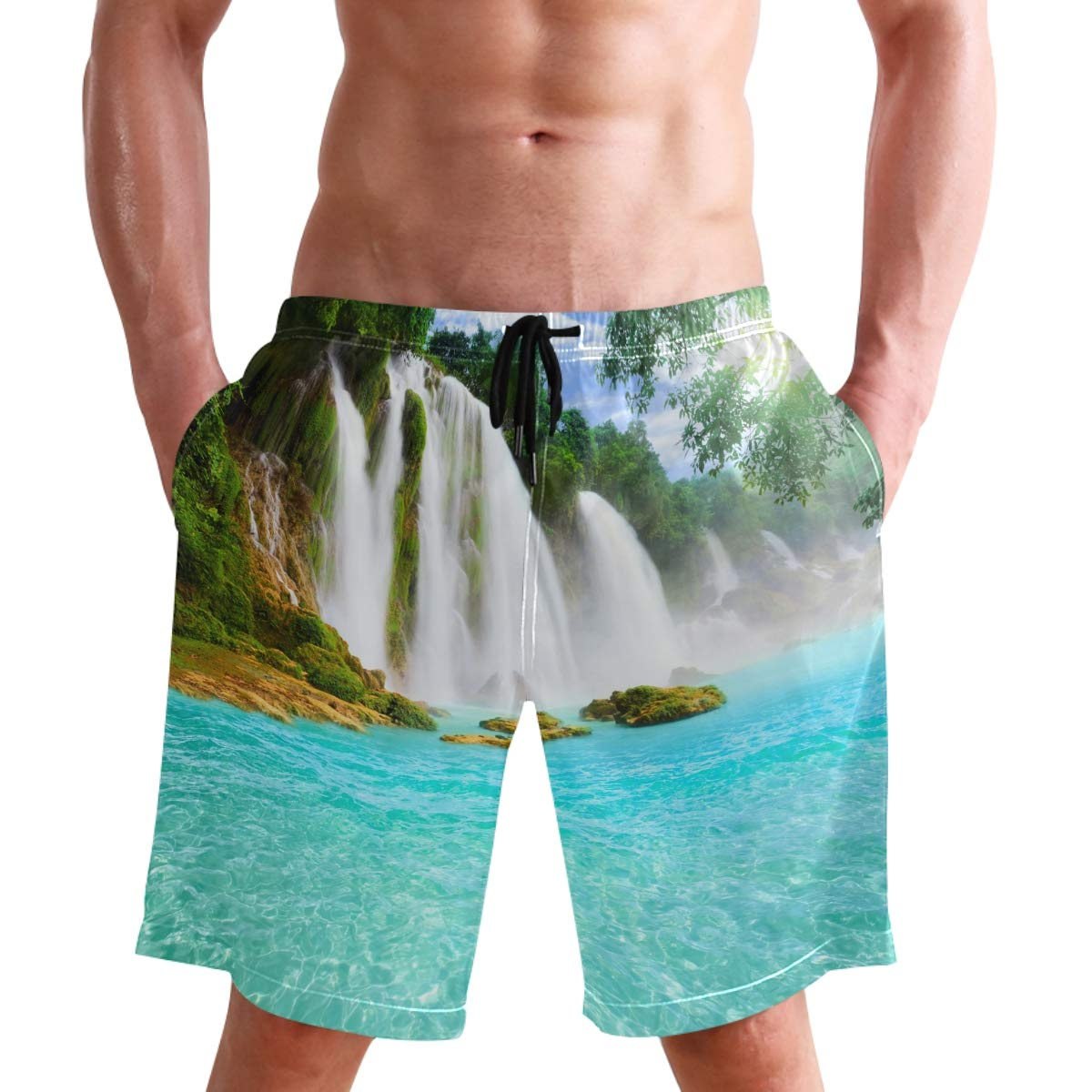 WIHVE Mens Swim Trunks Waterfall Spring Forest Beach Board Shorts with Lining