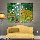 ArtWall Gustav Klimt 'Farm Garden' 2-Piece Gallery Wrapped Canvas Artwork, 32 by 48-Inch