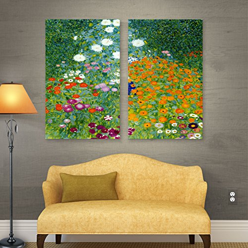 ArtWall Gustav Klimt 'Farm Garden' 2-Piece Gallery Wrapped Canvas Artwork, 24 by 36-Inch (Klimt Gustav Museum)