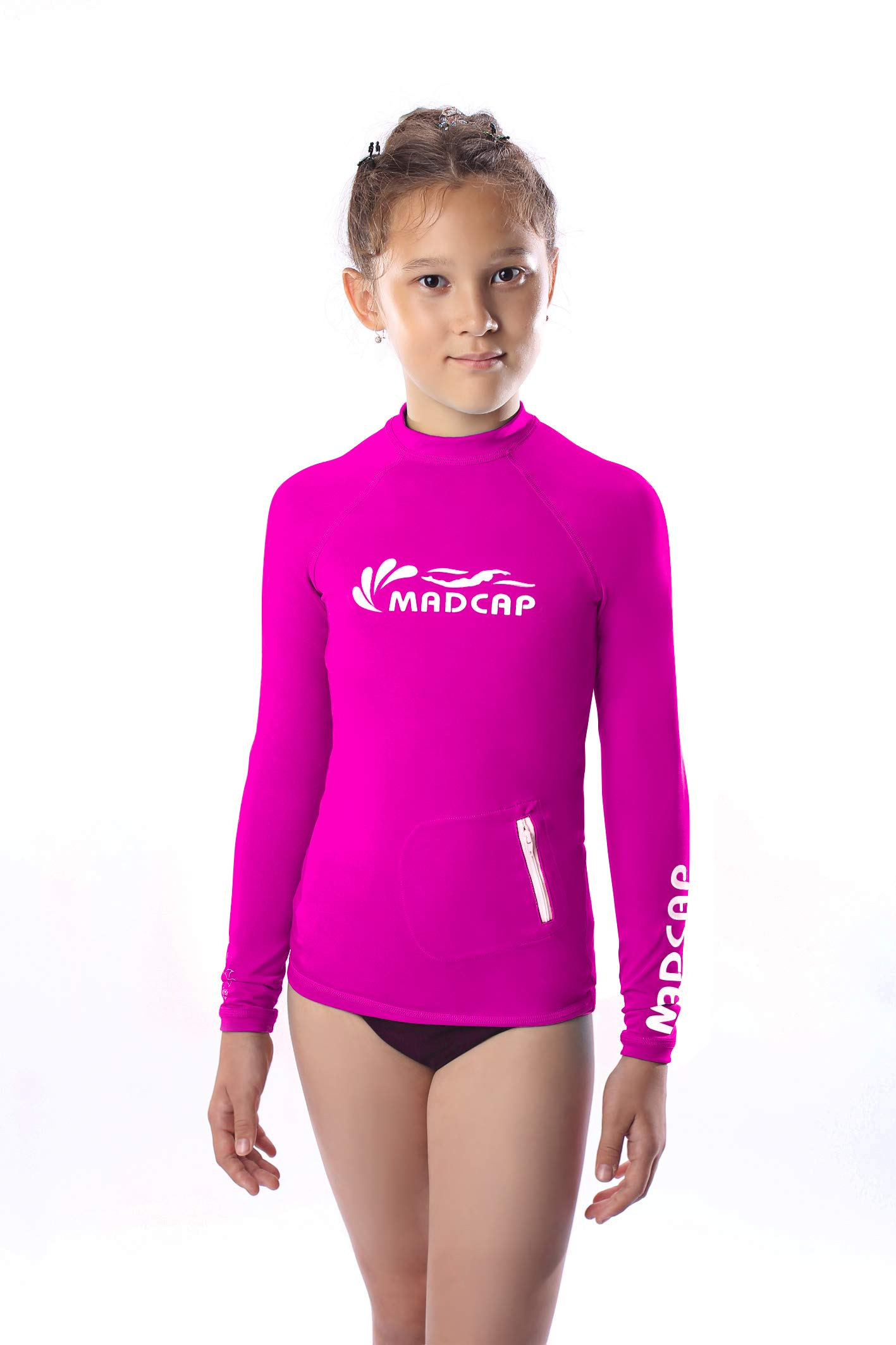 MADCAP Girls Rash Guard Long Sleeve Swimwear Swim Surf Shirt Top UV Sun Protection for Toddler and Teen Girls 4-16 Years Old (Dark Pink, X-Small / 8)