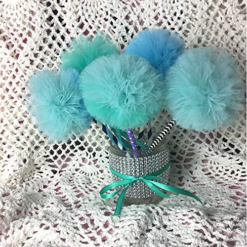 10 Pc Set Mermaid Princess Party Blue Pom Wands Favors Centerpiece Decor