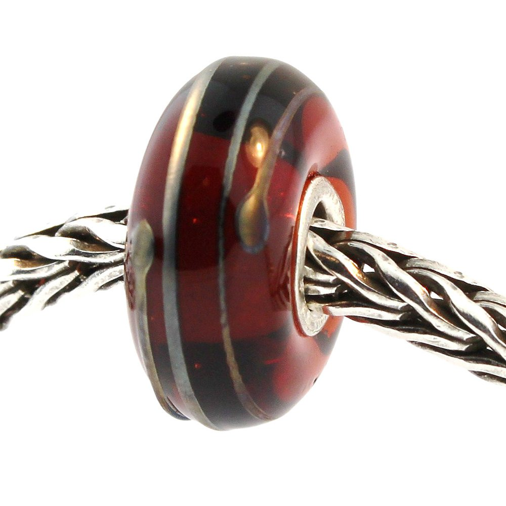 Authentic Trollbeads Glass 61394 Golden Thread, Brown