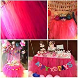 Haperlare Tutu Tulle Table Skirt Queen Snowflake Wonderland Table Cloth Skirts for Wedding Christmas Party Baby Shower Birthday Cake Table Girl Princess Decor,31x36inch Rose Red