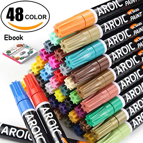 - Paint Pens for Rock Painting - Write On Anything! Paint pens for Rock, Wood, Metal, Plastic, Glass, Canvas, Ceramic & More! Low-Odor, Oil-Based, Medium-Tip Paint Markers (48 Pack)