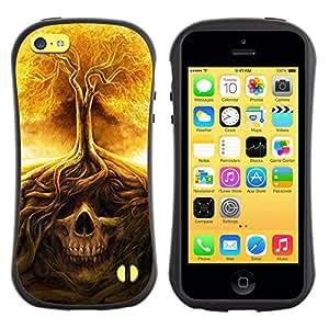 Pulsar iFace Series TPU Silicona Carcasa Funda Case para Apple iPhone 5C, Cráneo Árbol Fuego Significado Death Metal